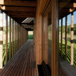 Design holiday Houses Rajsko for rent Sumava Czech Republic - covered wooden deck